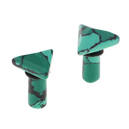 joyMerit 1 Par de Tapones para Los Oídos Triangulares de Piedra Verde, Túneles, Medidores, Ensanchadores, Piercings - 6mm