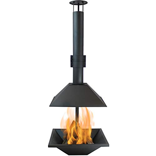 Sunnydaze Black Steel Chiminea Fire Pit - Outdoor Wood-Burning Modern Backyard Fireplace - 80-Inch Tall