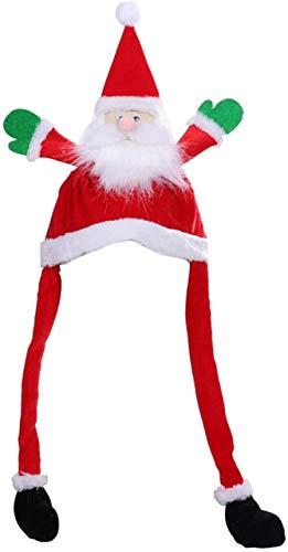 FENGLI Gorro de Papá Noel con diseño de muñeco de nieve, divertido disfraz de Papá Noel, gorro de peluche para niños y adultos (color: A)