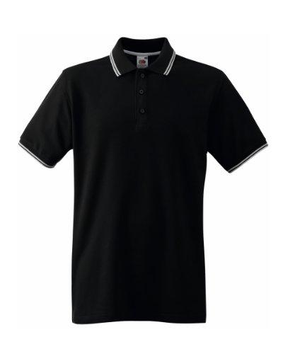 Herren Fruit Of The Loom Tipped Poloshirt Tshirt-Black/White-64 EU (XXXL)-KOSTENLOSE LIEFERUNG