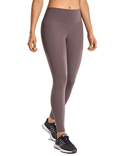 CRZ YOGA Damen Hohe Taille Joggen Yoga Leggings mit Verdeckte Seitentaschen-63cm Lila Taupe 38