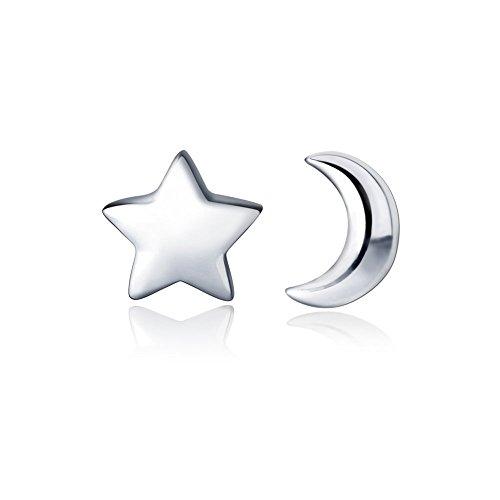 Hanfly - Orecchino a forma di luna e stella, in argento Sterling 925, con chiusura a borchia e Argento, colore: Giallo, cod. HFSS2018050201