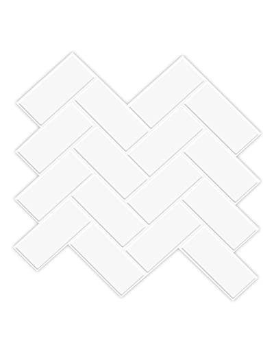 Art3d Herringbone Peel and Stick Backsplash Tiles (10 Tiles, Thicker Version)
