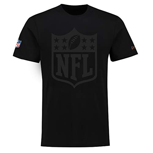 New Era NFL T Shirt Tonal Logo Tee Black On Black - L