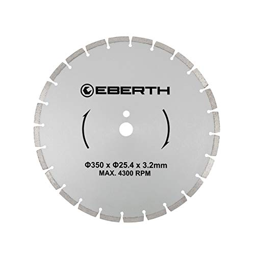 EBERTH Profi Diamanttrennscheibe Diamantscheibe universal Trennscheibe für Nass- und Trockenschnitt (350 mm Durchmesser, Bohrung 25,4 mm, Blattstärke 3,2 mm, U/Min. max. 4300)