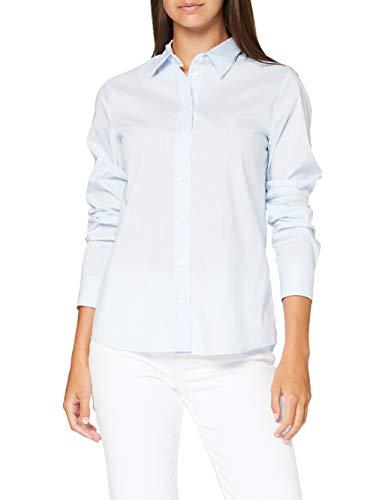 Seidensticker Damen Hemdbluse Langarm Gestreift Schmal Bluse, Blue 11, 34
