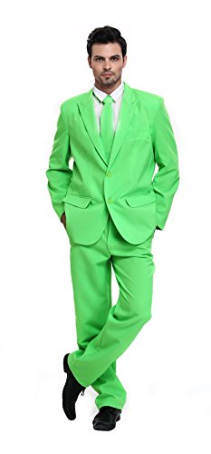 U LOOK UGLY TODAY Men's Party Suit Solid Color Prom Suit for Themed Party Events Clubbing Jacket with Tie Pants Green-Large