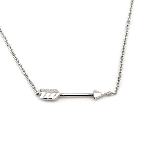 Beauniq Solid Sterling Silver Rhodium Plated Arrow Pendant Necklace, 16 Inches-18 Inches