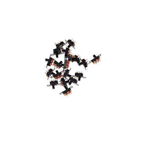 3 Pines Micro Spdt PCB Miniatura del Interruptor Deslizante De Enclavamiento Interruptor Selector para El Bricolaje 20pcs Pequeña Potencia Proyectos Electrónicos (Negro) De 2 Posiciones