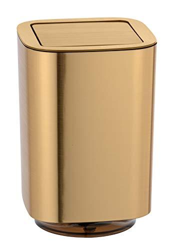 WENKO Schwingdeckeleimer Auron Gold - Kosmetikeimer mit Schwingdeckel, Badeimer Fassungsvermögen: 5.5 l, Kunststoff, 17.2 x 25.5 x 17.2 cm, Gold