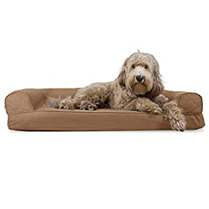 Furhaven Pet Dog Bed – Cooling Gel Memory Foam Quilted Traditional Sofa-Style Living Room Couch Pet Bed with Removable Cover for Dogs and Cats, Toasted Brown, Large