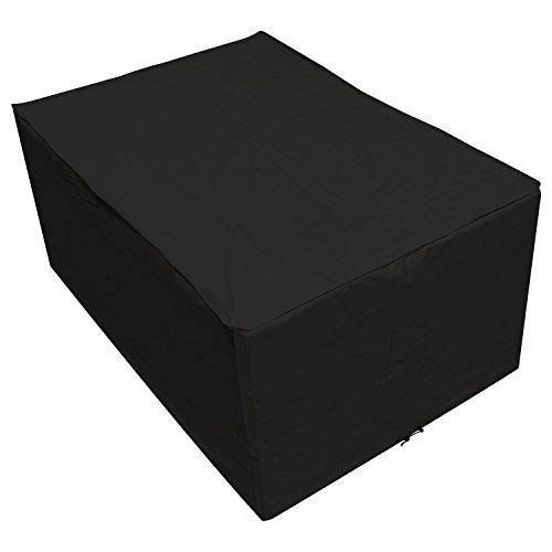 Oxbridge Black Small Rectangle Outdoor Garden Table Cover 1.52m x 1.04m x 0.71m/5ft x 3.4ft x 2.3ft 5 YEAR GUARANTEE