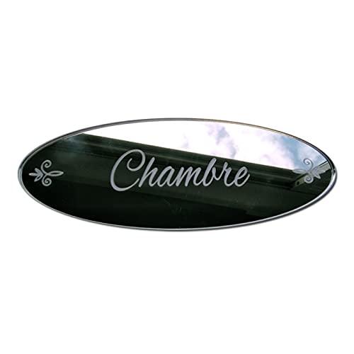 Plaque de Porte Chambre en Plexi Miroir Autocollant - Plaque Miroir Adhésive - Dimensions 16 x 6 cm - Décoration pour Porte - Pastilles Doubleface au Dos