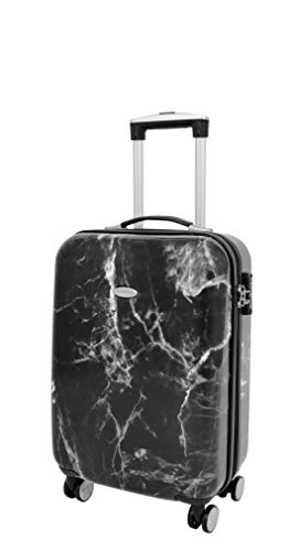 4 Wheel Luggage Hard Shell Expandable Suitcases Lightweight Travel Bags - Black Granite (Cabin | 55x36x20cm/ 2.30KG, 36L)