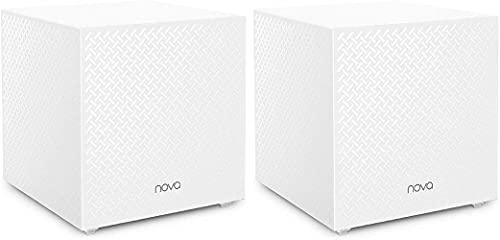 Tenda Nova MW12 Wi-Fi Mesh, Tri-band AC2100, Copertura WiFi fino a 370 MQ, 2 Porte LAN Gigabit, Router e Access Point, Controllo Genitori , Ripetitore Wifi Compatibile con Alexa, Confezione da 2 Pezzi