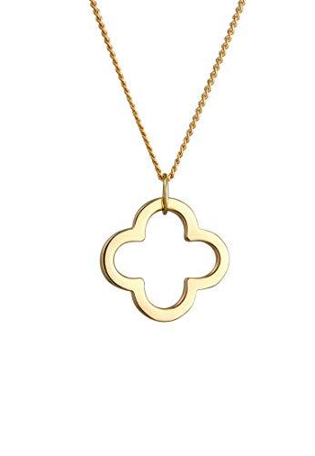 Elli PREMIUM Halskette Damen mit Anhänger Kleeblatt Glücksbringer in 585 Gelbgold