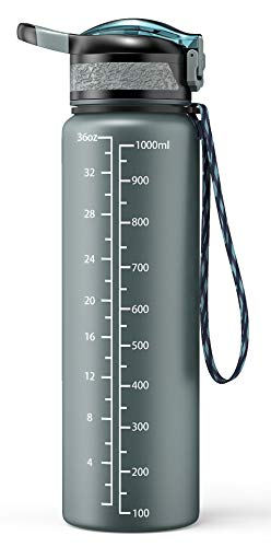Cocoda Gourde Sport, 1000ml Tritan sans BPA Bouteille d'eau avec Un Clic Ouvrir Le Couvercle Rabattable, Verrou Anti-Fuite, Grande Bouteille Gourde Réutilisable pour Cyclisme Randonnée