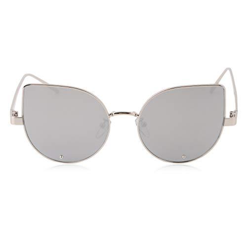 Retro New Cats Eye Zonnebril Dames Merk Designer Mode Vrouwelijk Korea Stijl Metalen frame UV400 Spiegel Gothic Dame Zonnebril Zilver frame witte film