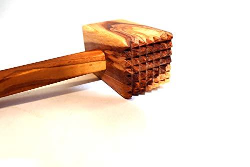 Martillo de carne de madera de olivo de Túnez, martillo de madera de olivo (cuadrado)