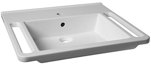 KIBOMED GTM-601 Senioren-Waschbecken weiß | 600x555mm | mit Überlauf-Schutz | Griffkante vorne & Handtuchhalter | behindertengerecht | Rollstuhl unterfahrbar