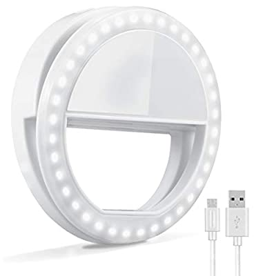 Selfie Ring Light, Oternal Selfie Light Rechargeable Portable Clip-on Selfie Fill Ring Light for iPhone Android Smart Phone Photography, Camera Video, Girl Makes up (Grey White) by Oternal