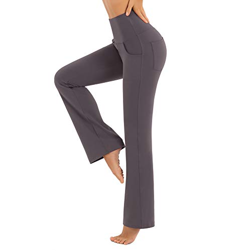 CLUCI Bootcut Yoga Leggings with Pockets for Women High Waist Workout Bootleg Pants Tummy Control Work Pants for Women Non-See Through 6 Way Stretch Grey(S)