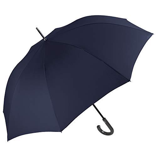 Ombrello Blu Scuro Golf Classico Uomo - Ombrello Lungo Automatico Tinta Unita - Grande Antivento e Resistente in Fibra di Vetro - PFC FREE - Diametro 120 cm - Perletti Technology (Blu Scuro)