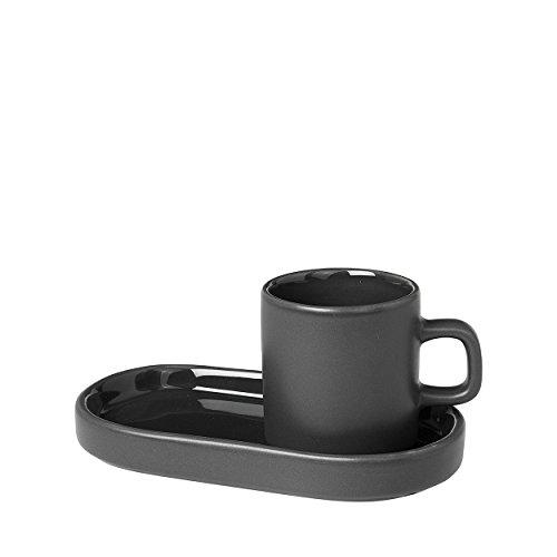 blomus -PILAR- 2er Set Espressotassen aus Steingut, Agave Green, 50ml Fassungsvermögen, schlichte Eleganz, spülmaschinenfest, hochwertige Verarbeitung (H / B / T: 6 x 7,5 x 5 cm, Agave Green, 63714)