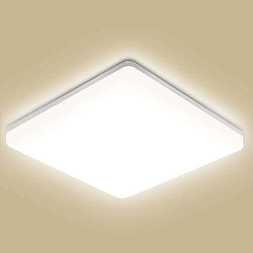 Lampada da soffitto LED, Oeegoo 18W plafoniera luce quadrata, 1800lm IP44 impermeabile Bianco naturale 4000K Plafoniera LED per soggiorno Sala da pranzo Camera da letto Bagno Cucina Balcone Corridoio