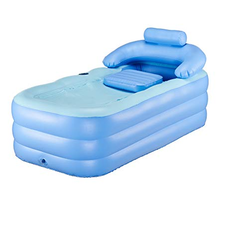 Sfeomi Aufblasbare Badewanne Plastik faltbar klappbar Faltbares Schlauchboot Pool Dicke Warme Spa-Badewanne Erwachsene PVC Plastikl mit Nackenkissen und Luftpumpe Kinder Aufblasbares Becken