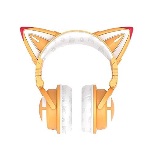 Auriculares Auriculares inalámbricos inalámbricos Bluetooth 5.0 Auriculares estéreo Plegables 48H Tiempo de Juego con RGB Light Soft Earmuffs Gaming (Color : Orange)