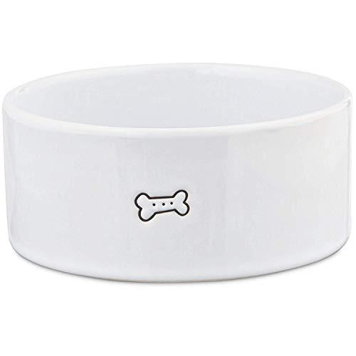 Petco Brand - Harmony Good Dog Ceramic Dog Bowl, 3 Cups, Medium, White / Black
