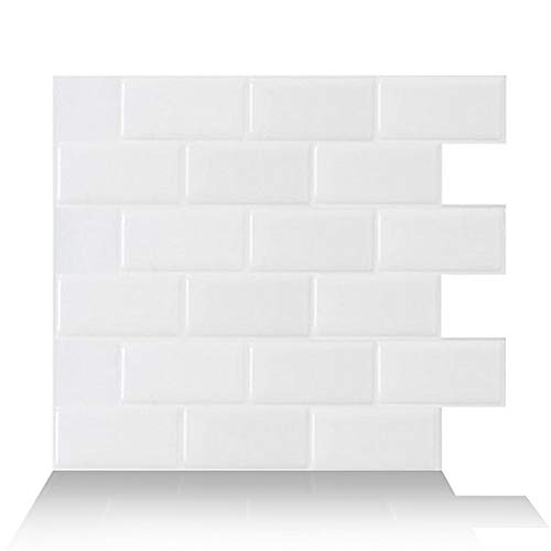 Tic Tac Tiles 12'x12' 5-Sheet Subway Blanc White 2021 Upgraded Version Peel and Stick Self Adhesive Removable Stick On Kitchen Backsplash Bathroom 3D Wall Sticker Made in Korea Wallpaper Tiles