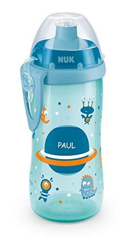 NUK Junior Cup mit persönlicher Gravur, mit Push-Pull-Tülle, auslaufsicher, BPA frei, ab 36 Monaten, 300ml, blau