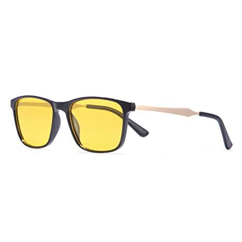 SXRAI Gafas de sol polarizadas cuadradas translúcidas para hombres con visión nocturna C4