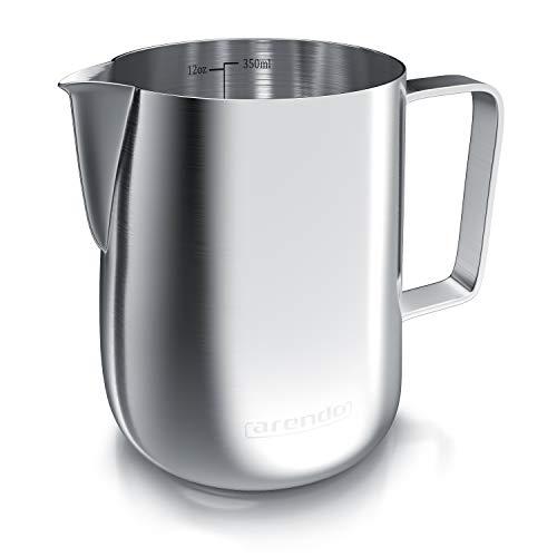 Arendo - Milchkännchen Edelstahl 350ml - Aufschäumer Kännchen – Milchkanne – Milk Pitcher - rostfreier Edelstahl – zum Milch Aufschäumen – spülmaschinenfest - Messskala - für Barista Cappuccino Latte