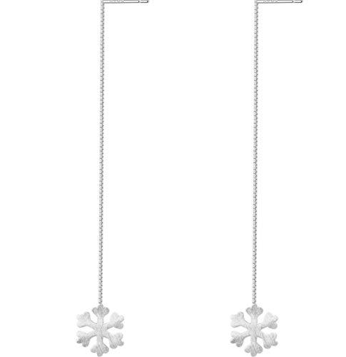 ISZIE Jewellery - Orecchini pendenti in argento sterling con fiocco di neve, a forma di fiocco di neve