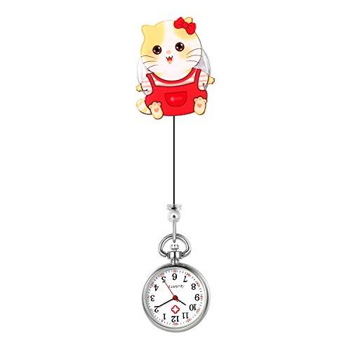 Lancardo Reloj Enfermera Linda Reloj Médico de Bolsillo con Decoración Gato Paramédico Reloj de Cuarzo para Doctor Prendedor de Broche Uso Hospital Clip de Uniforme Longitud Estirable
