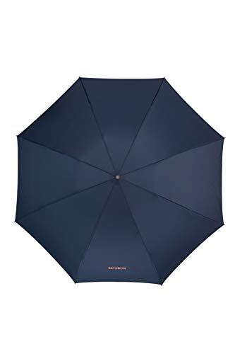 Samsonite Up Way - Safe 3 Section Auto Open Close Ombrello Pieghevole, 30 centimeters, Blu (Dark Blue/Mandarin Orange)