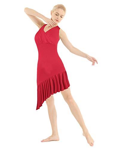 TiaoBug Vestido de Ballet Mujer Cuello en V Falda Plisada para Danza Baile Maillots Gimnasia...