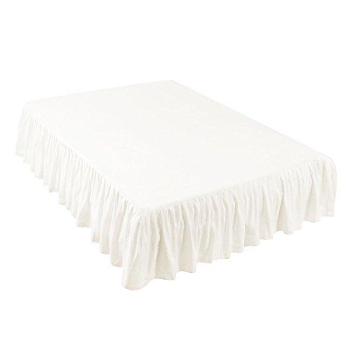 sourcing map Bettvolants Bettröcke Bettlaken Betttuch Gefaltete aus Polyester Rockhöhe 35cm Weiß 100x190cm