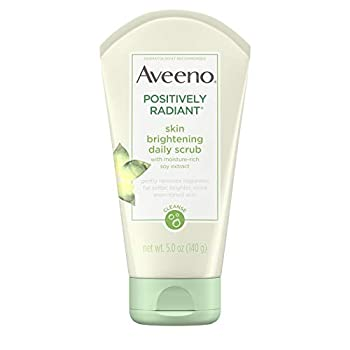 Aveeno Positively Radiant Skin Brightening Exfoliating Daily Facial Scrub Moisture-Rich Soy Extract Oil- & Soap-Free Tone-Evening Face Cleanser Hypoallergenic & Non-Comedogenic 5 oz