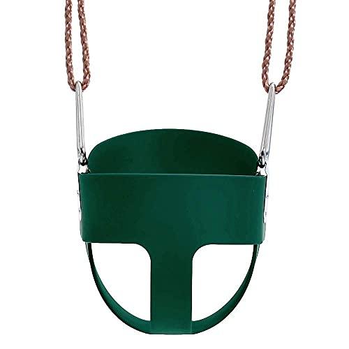 Silla de columpio para niños, columpio de jardín para interiores y exteriores, respaldo alto, cubo completo, asiento de columpio para niños pequeños con juego de columpios de cadenas revestidas