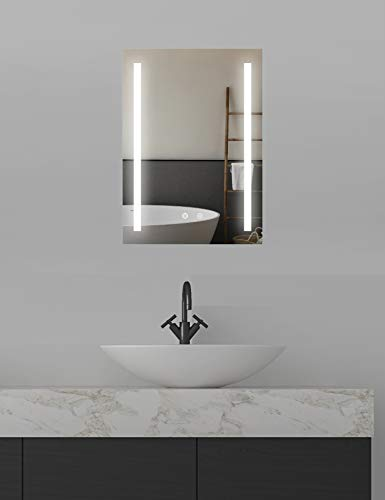 ApeJoy LED Badspiegel 50 x 70cm Antibeschlage Badezimmerspiegel mit Beleuchtung Kaltweiß Licht Wandspiegel energiesparend AJ04s