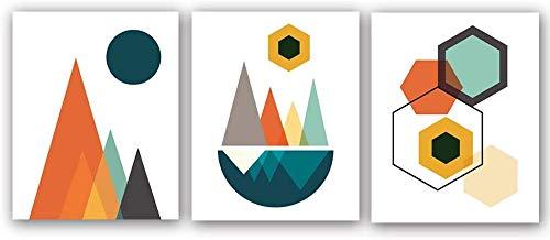 KAIRNE 3er Set Geometrisch Poster, Modern Nordic Abstraktes Bilder, Bunten Geometric im Orange Bild Mädchen Kinderposter, Wandbilder Nordic für Wohnzimmer Schlafzimmer Home Decor Malerei Geschenk