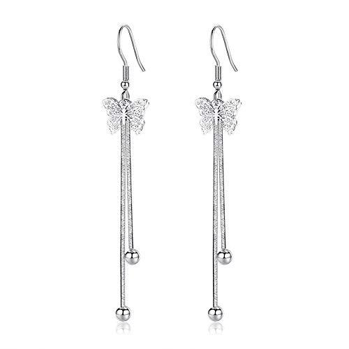 Pendientes colgantes de mariposa huecos minimalistas con borla exagerada para fiestas, pendientes largos de cadena para mujeres