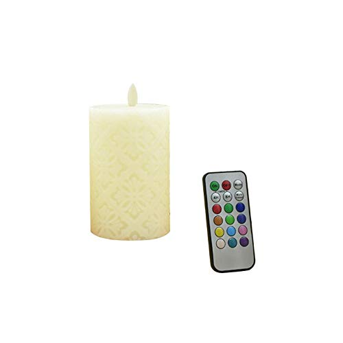 Ydh Hollow-out Floral Pattern Led Candle Dancing Flame Led Light Wax Pillar Candle candle