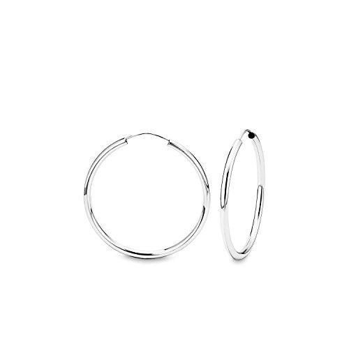 amor Damen-Creolen Ohrringe Basic 37 mm 925 Sterling Silber rhodiniert glänzend - 75725