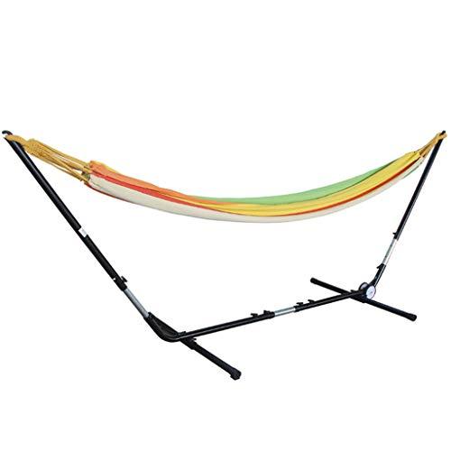 DUOER huis hangmatten 2 Persoon Katoen Stof Hangmat Streep Dubbele Swinging Hangmat Met Stevige Staal Frame voor buiten, Tuin en Patio Swing Stoelen