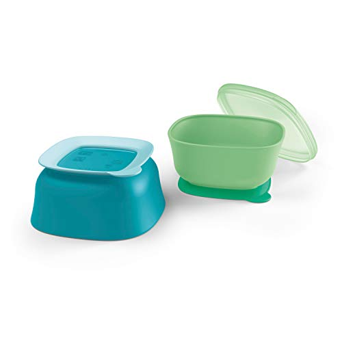 NUK Suction Bowl and Lid, Assorted Colors, 2 Pack, 6+ Months